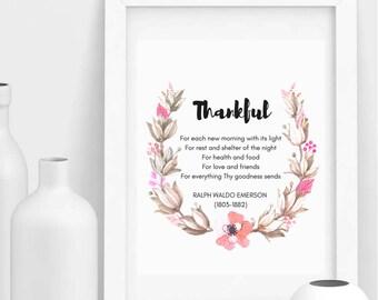 Thanksgiving Printable, Thankful Poem, Fall Decorations, Autumn Decor, Floral Home Decor, Celebration Printable, Holiday PRINTABLE
