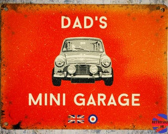 Red Dads Mini Garage Tin Sign - Austin BMC Cooper Classic Car Gift - Retro Petrolhead Gift