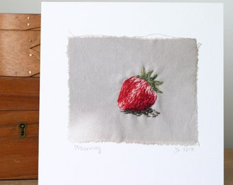 Hand Embroidered Strawberry I Stitched Art