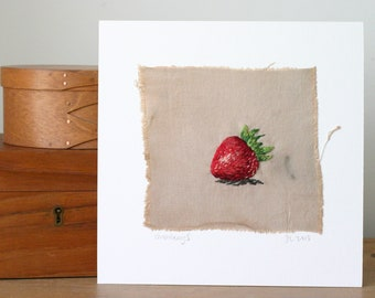 Hand Embroidered Strawberry II Stitched Art