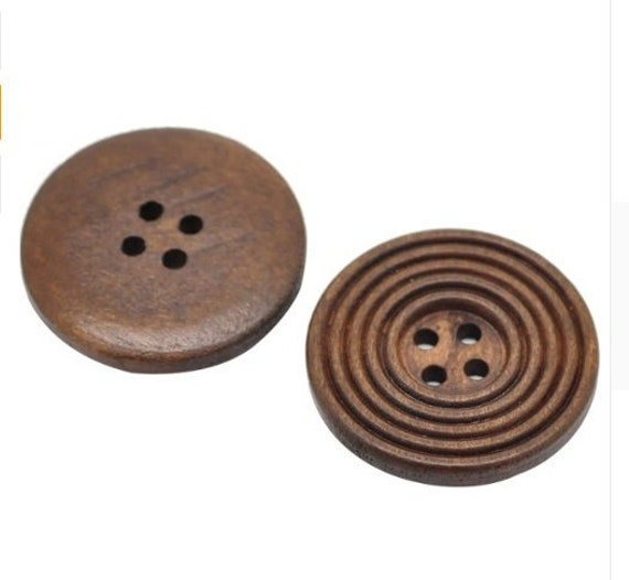 Ideal for sewing 15mm Free UK P/&P 6 Wooden Buttons 4 holes coffee colour