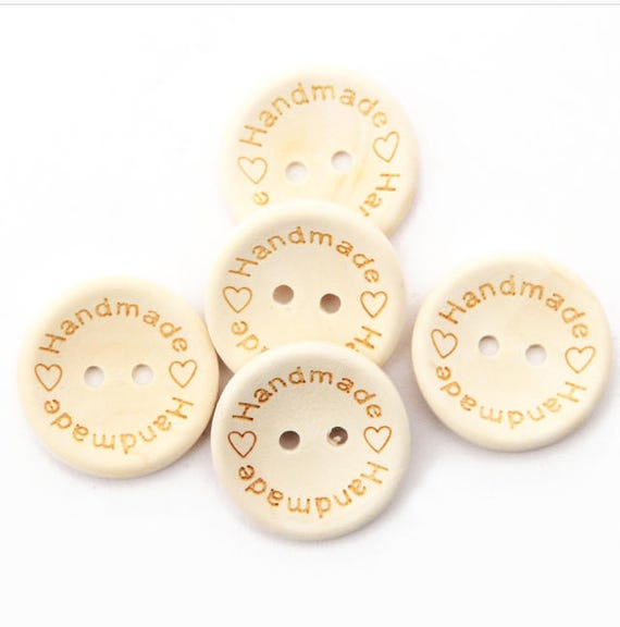 5 Large Wooden Handmade Heart Buttons 2 Hole 30mm Sewing Craft UK SELLER Coconut