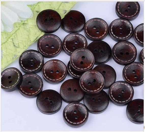 10 15mm Wooden Beech Buttons 2 Hole Flatback Sewing Craft UK SELLER Knitting