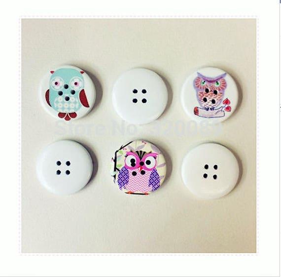 5 Wooden Flatback Buttons Owls 2 Hole 30mm Sewing Craft UK SELLER Mixed Designs