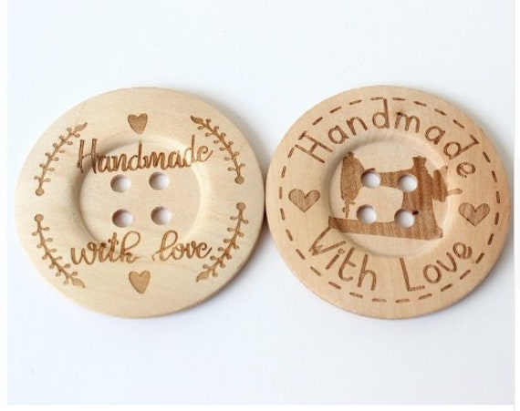 50 ROUND WOODEN BUTTONS Inscribed Handmade~15mm~Sewing~Knitting~Crafts