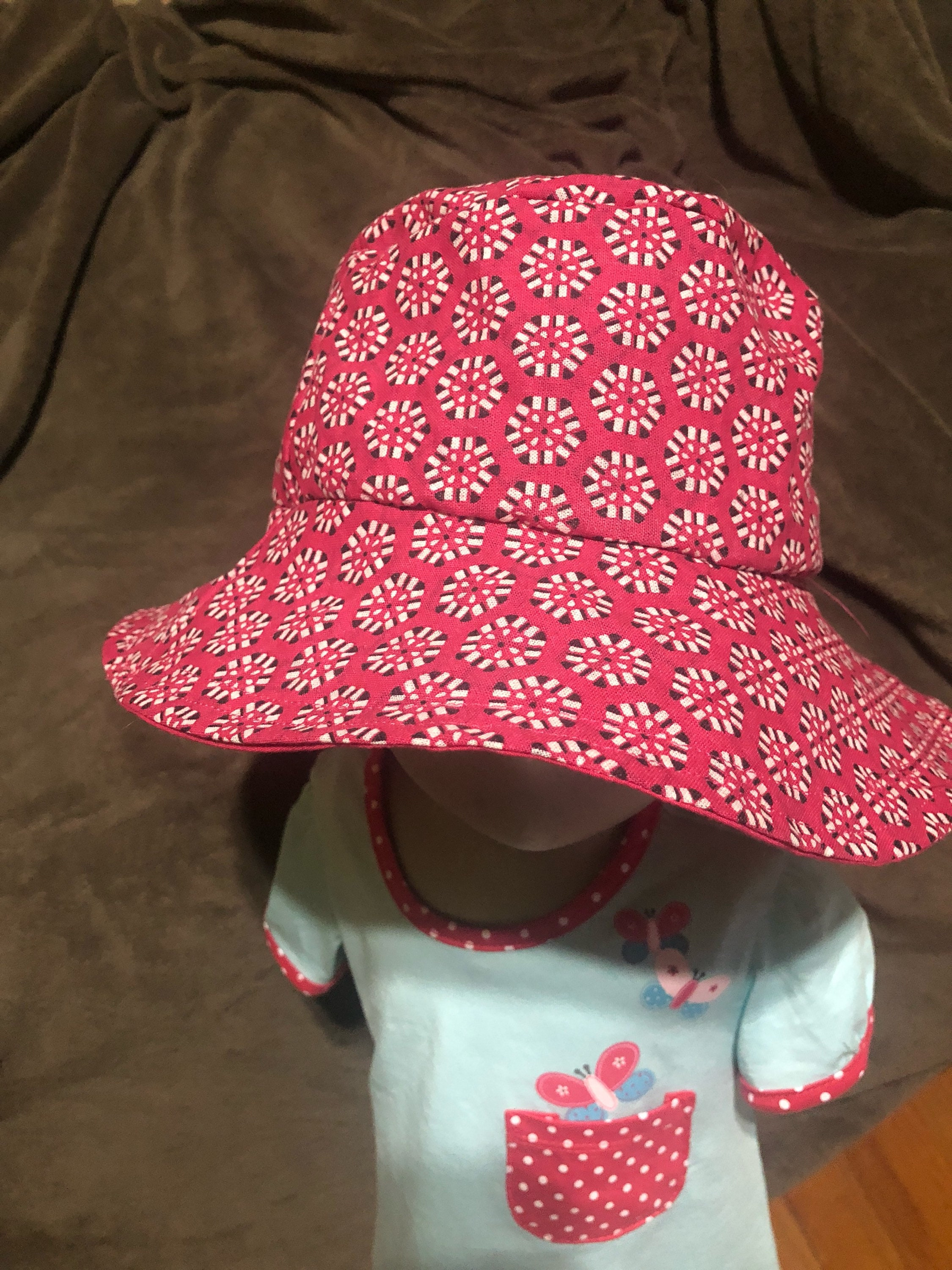 FREE SHIPPING Pink South African shweshwe bucket hat  e5255b05a36