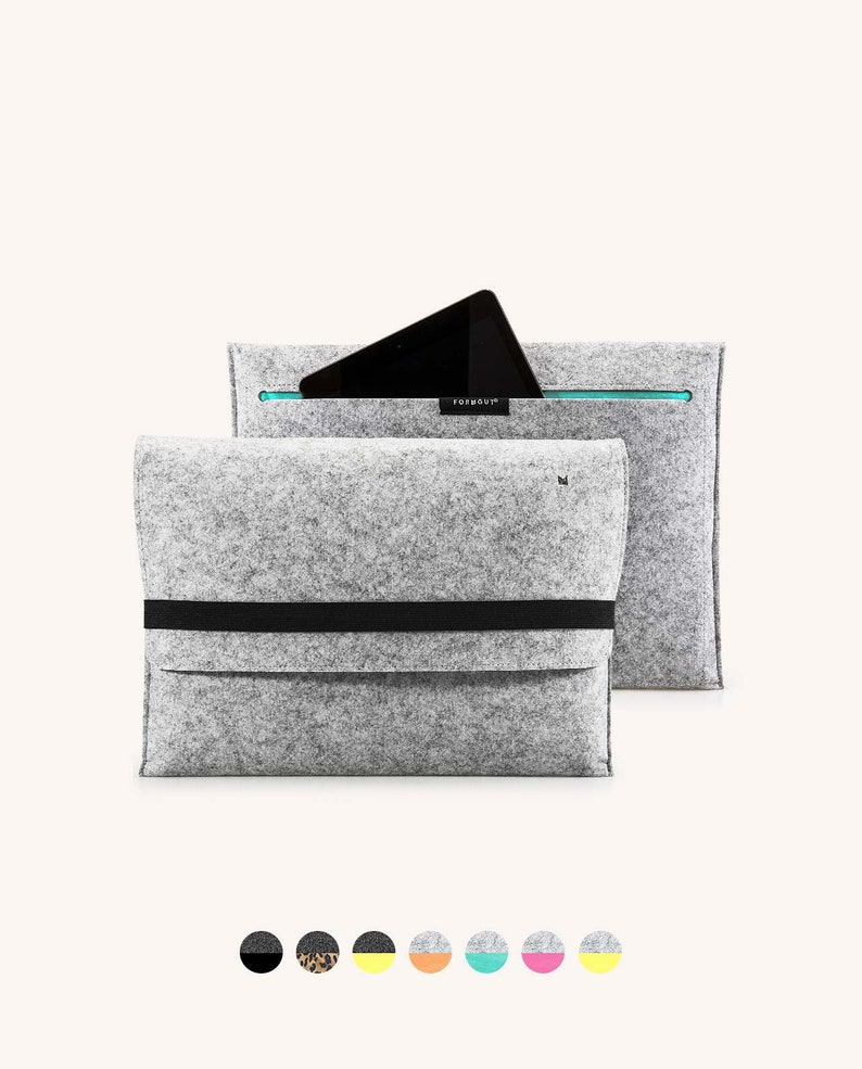 2012-2015 Cover Bag Case Notebook Laptop Sleeve Sleeve  Light Grey Turquoise Felt Fabric Laptop Case for MacBook Pro 13 inch Retina