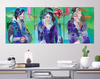 TRIPTYCH GIRL PORTRAIT Movement Original Oil Painting Three 20x16in Canvases Figurative Modern Impressionism Abstract Teen Youth Room Decor