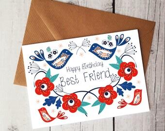 Happy Birthday Best Friend Card Cute BFF Ideas Pretty WORLDWIDE SHIPPING