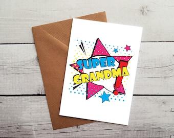 Super Grandma Birthday Card Occasion Idea Gift WORLDWIDE SHIPPING