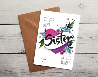 Sister Birthday Card Best Occasion Idea Gift WORLDWIDE SHIPPING