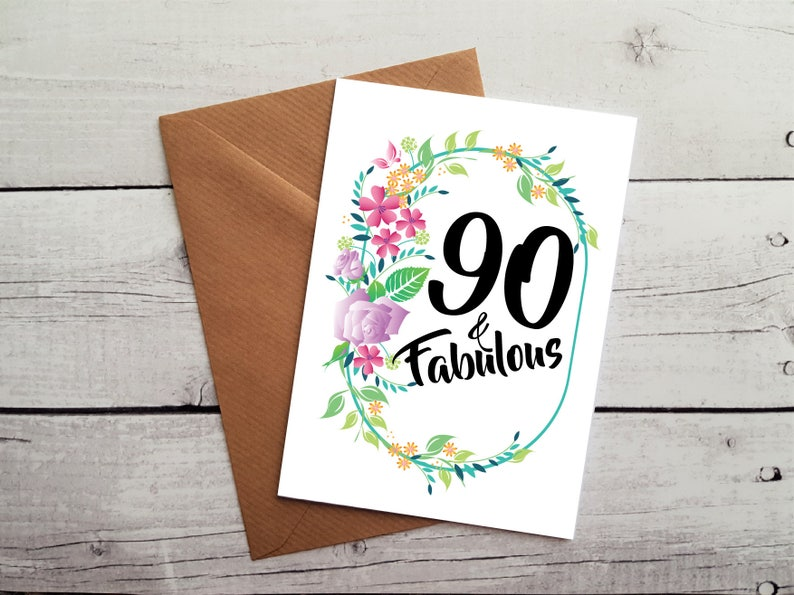 Special 90th Birthday Card For Lady 90 And Fabulous With