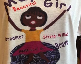 Mama Girl Folk Art Lady on Top of the World ~ May Birthday Shirt