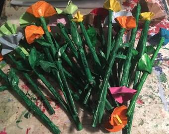 Mama-Girl Folk Art Colorful Flowers