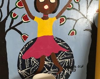 Mama Girl Folk Art Lady on Top of the World Mug