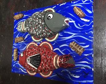 Mama-Girl Folk Art - Two Fish Five Loaves of Bread