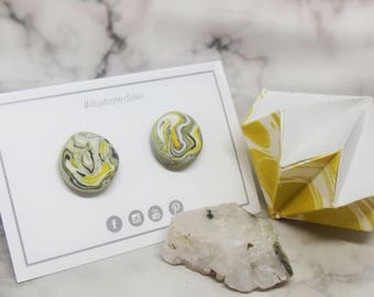 Marble Effect Grey/Yellow/White Round Stud Earrings *FREE SHIPPING*
