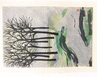 Vintage 1961 Signed Numbered Tamami Shima Japan Trees On A Hill Woodblock Print