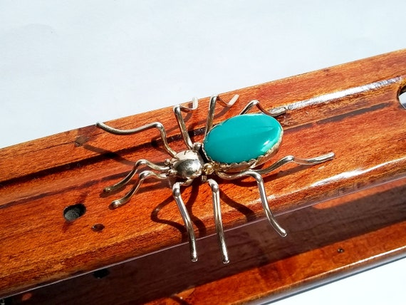 43mm Old NAVAJO Real TURQUOISE Mother of Pearl STERLING Silver Spider Pin Works
