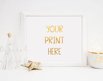 Download Free White Frame Christmas Xmas Mockup Mock Up w/ String Lights Gold Star Christmas Tree/ Styled Empty Frame Holiday Art Print Display Horizontal PSD Template