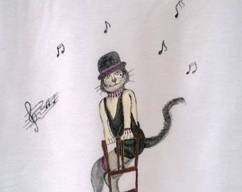 """Libra cat"" on short sleeve t-shirt, size XL"
