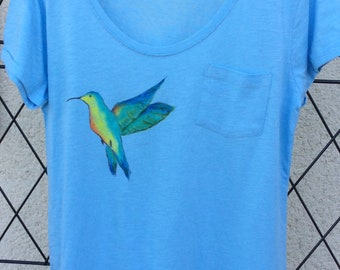 Blue t-shirt, size 44, hand painted