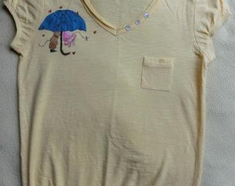 Rain of kisses t-shirt size S, OOAK