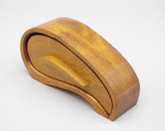 Small Handmade Wooden Trinket Jewel Box. With Secret Drawer. Bandsaw box.