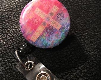Pink Cross name badge holder