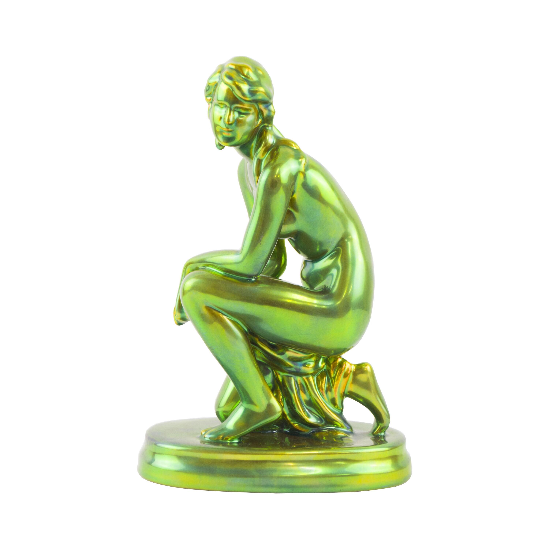 Zsolnay Eosin Nude Weeping Woman Porcelain Figure