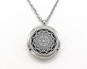 Mandala Aromatherapy Stainless Steel Necklace