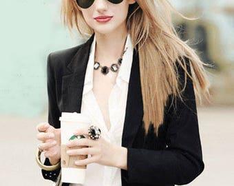 Black and White Zircon Statement Necklace