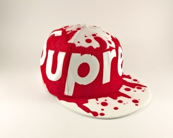 Supreme Blood Red New Era Snapback Hat Graffiti Spraypaint 2421d9f15959