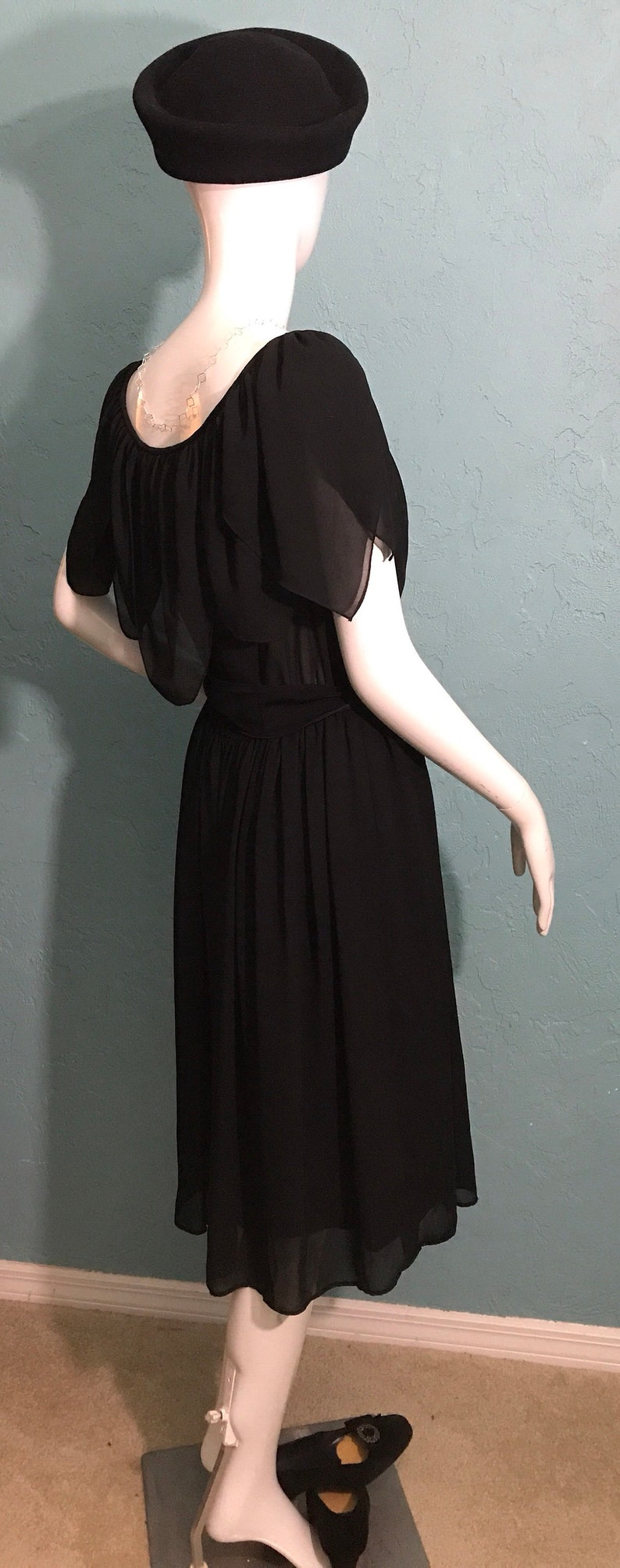 Sash Waist 70/'s Mollie Parnis Studio Little Black Dress Petal Neckline.