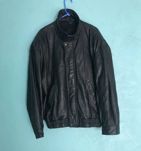 80's Leather Bomber. Black Leather Jacket. Size XL