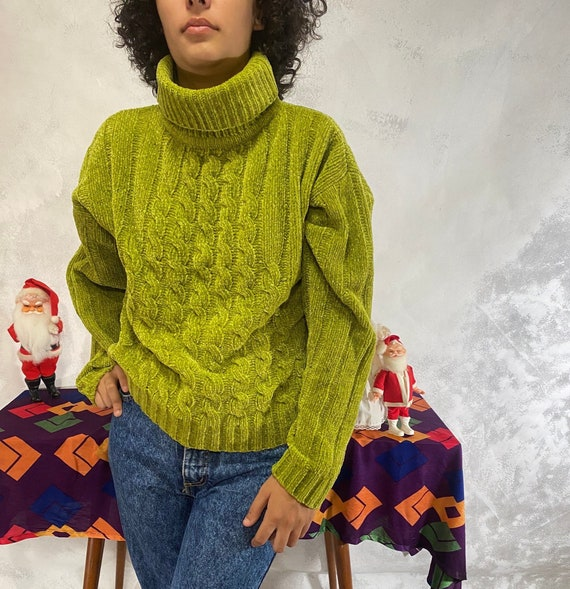 80's Vintage, County Seat, Green, Cable Knit, Crop