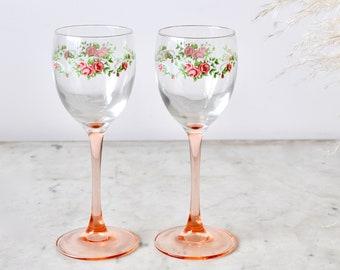 Vintage floral pink stemmed wine