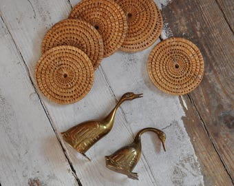 Vintage brass swans - gold, boho decor, brass - mid century modern ornament - paperweight or desk companion idea