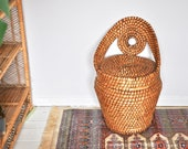 Vintage woven seagrass style storage tub chair from the 1970s