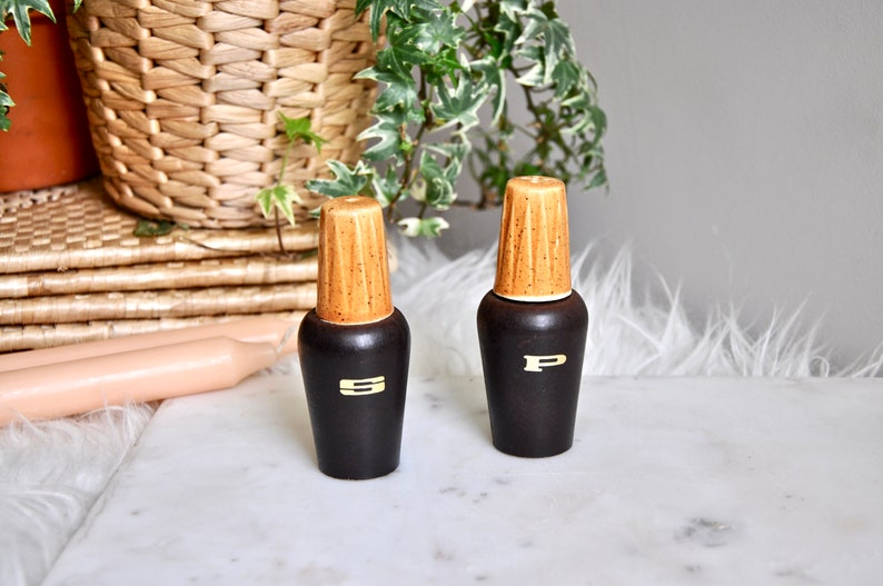 mcm decor retro kitchenware 70s Vintage ceramic mid century modern salt and pepper shakers with gold lettering