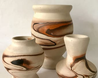 Vintage Nemadji Southwest Art Pottery Vases - Set of 3