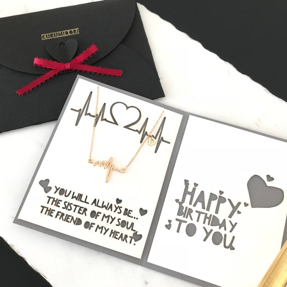 Personalized Birthday Card With Gift ECG Heartbeat Necklace