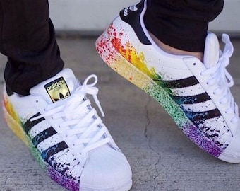 New Custom Adidas Rainbow White Superstar c2628d405cb1