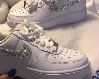New Custom Nike Bedazzled Swarovski Rhinestone White Air Force 1 Low 808b5e6336c0