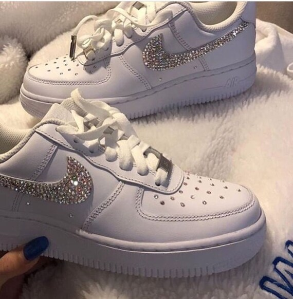 New Custom Nike Bedazzled Swarovski Rhinestone White Air Force  7a451d895f