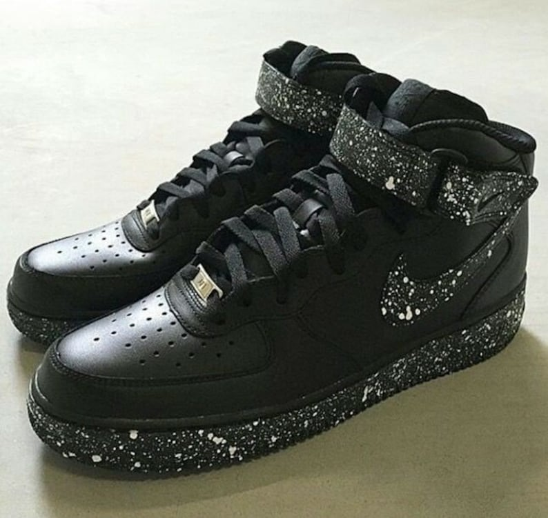 New Custom Nike White Speckled Black Air Force 1 Mid  b9815a991
