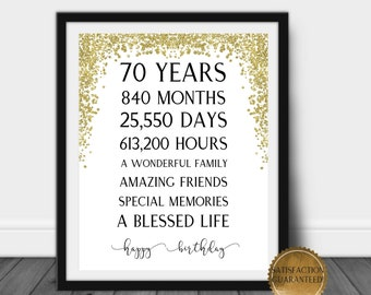 Includes 8x10 Back in 1951 Print Kashi Doodle 70th Birthday Decorations Gifts for Women or Men , Unframed 1951