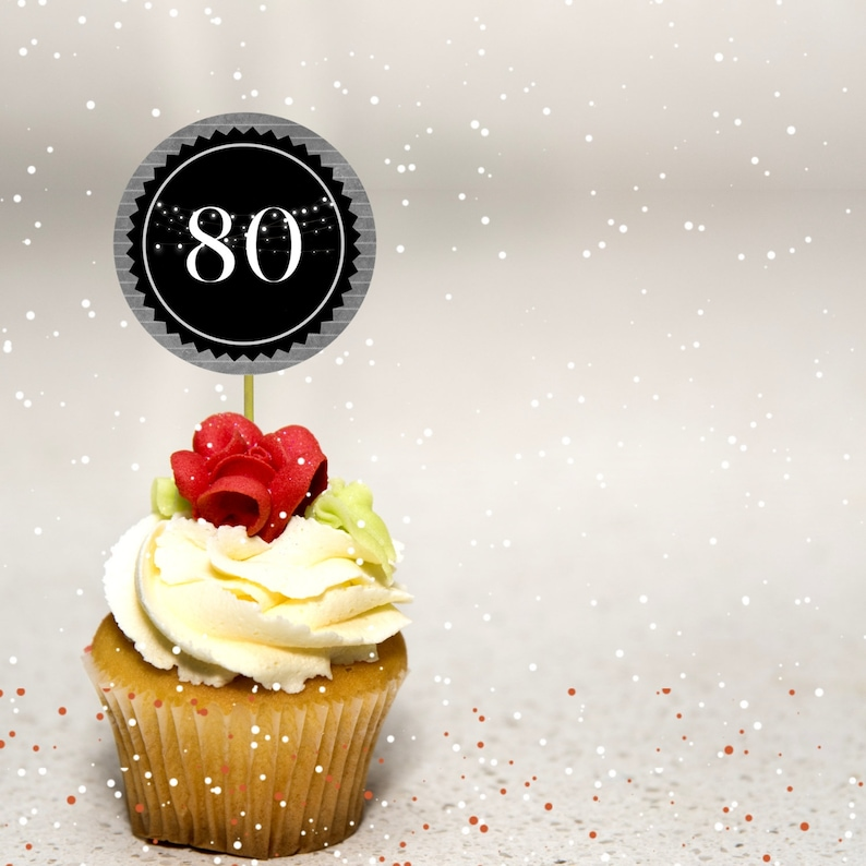 80th Birthday Cupcake Toppers Chalkboard Background Decorations Party Decor Supplies Instant Download