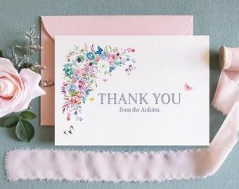 Personalized Printed Folded Custom Thank You Stationery Cards, Boho Flowers