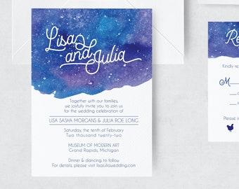 Wedding Invitation Suite, Galaxy Invitation